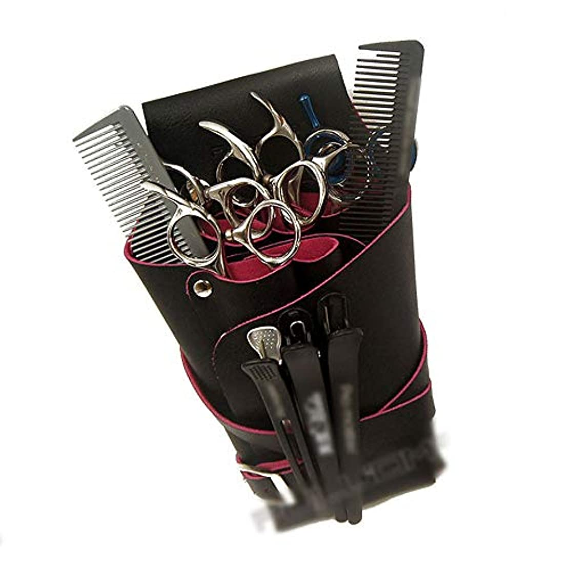 酸度頭摂動ショルダーベルト美容理髪ポーチ理髪くしでシザーホルスター モデリングツール (色 : 黒)