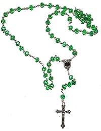 カトリックグリーンロザリオクリスタルビーズネックレスHolyメアリー&十字架エルサレムbyベツレヘムギフトTM