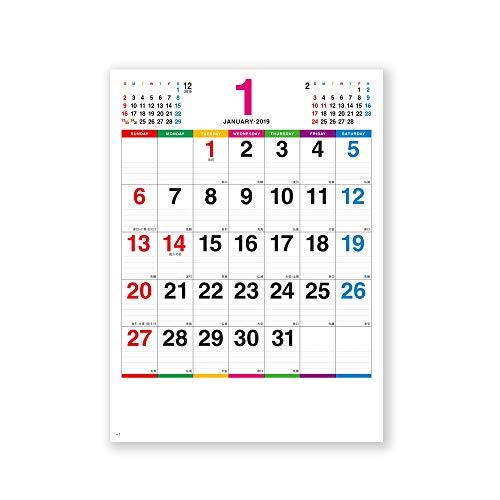 新日本カレンダー 2019年 カラーラインメモ カレンダー 壁掛け 小 NK450 (2019年 1月始まり)