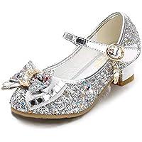 Amtidy Little Girls Mary Jane Wedding Party Shoes Glitter Bridesmaids Low Heels Princess Dress Shoes