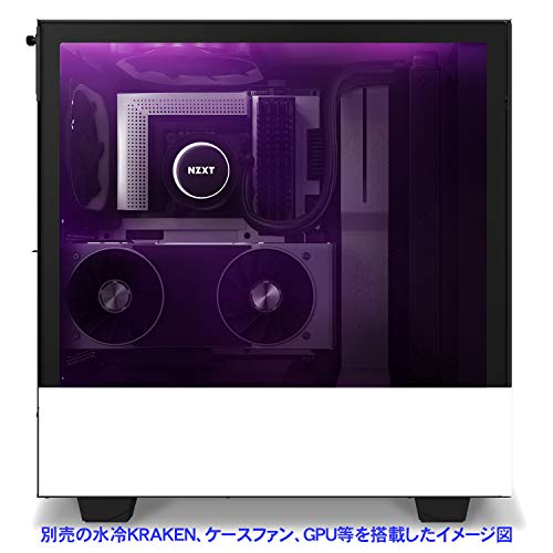『NZXT H510 Elite 前面+側面ガラスパネル RGB LED発光&ファン制御機能搭載 [ White & Black ] CA-H510E-W1』の1枚目の画像