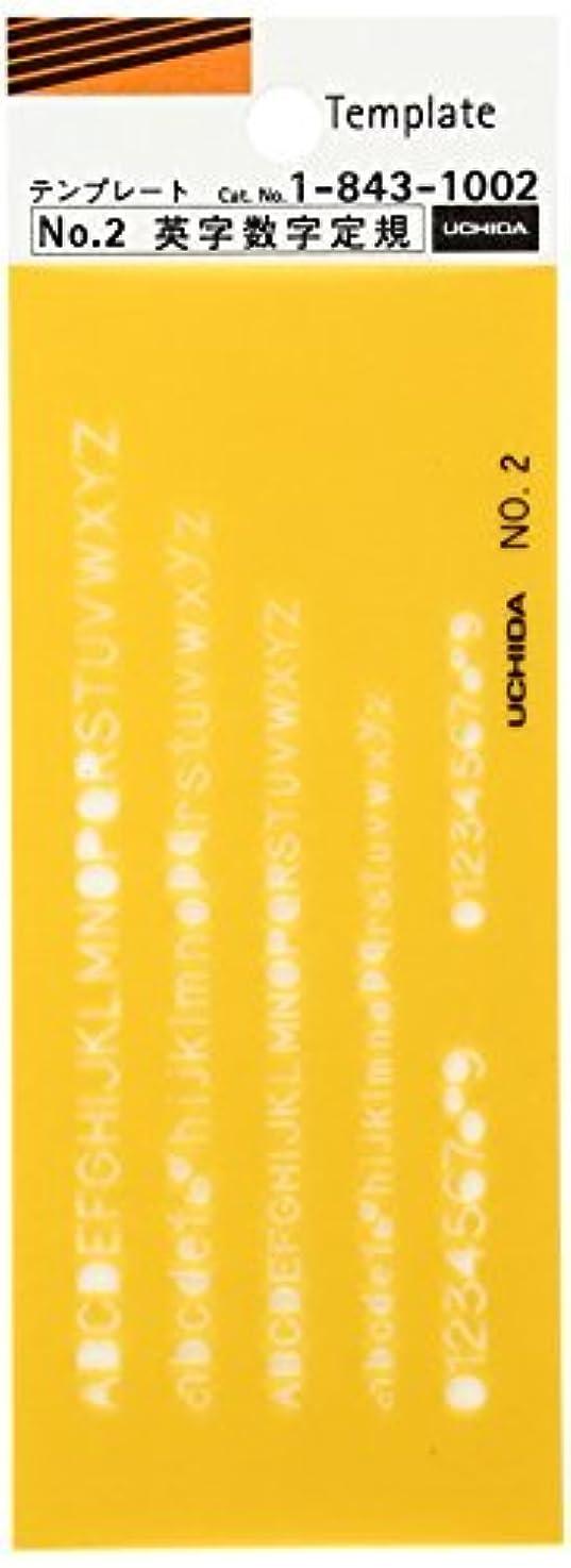 強制傾く対応内田洋行 テンプレート No.2 英字数字定規 1-843-1002 00958650【まとめ買い5枚セット】