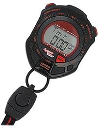 3f201c9675 [クレファー]CREPHA ストップウォッチ ラップ メモリー スプリット 計測機能 付き ブラック レッド ...