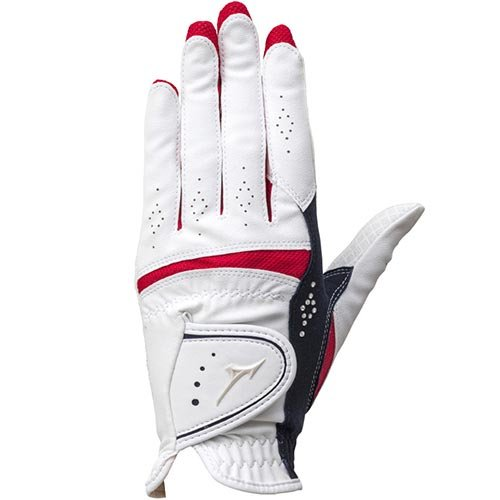 [ミズノ] ゴルフ グローブ レディース ダブルグリップ 左手用 ホワイト×ネイビー 5MJWL65114