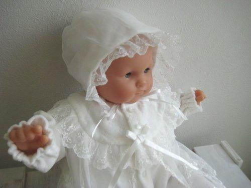 冬物厚手 ベロア素材 お帽子付き2点セット お宮参り 退院時用 セレモニーベビードレス 19508
