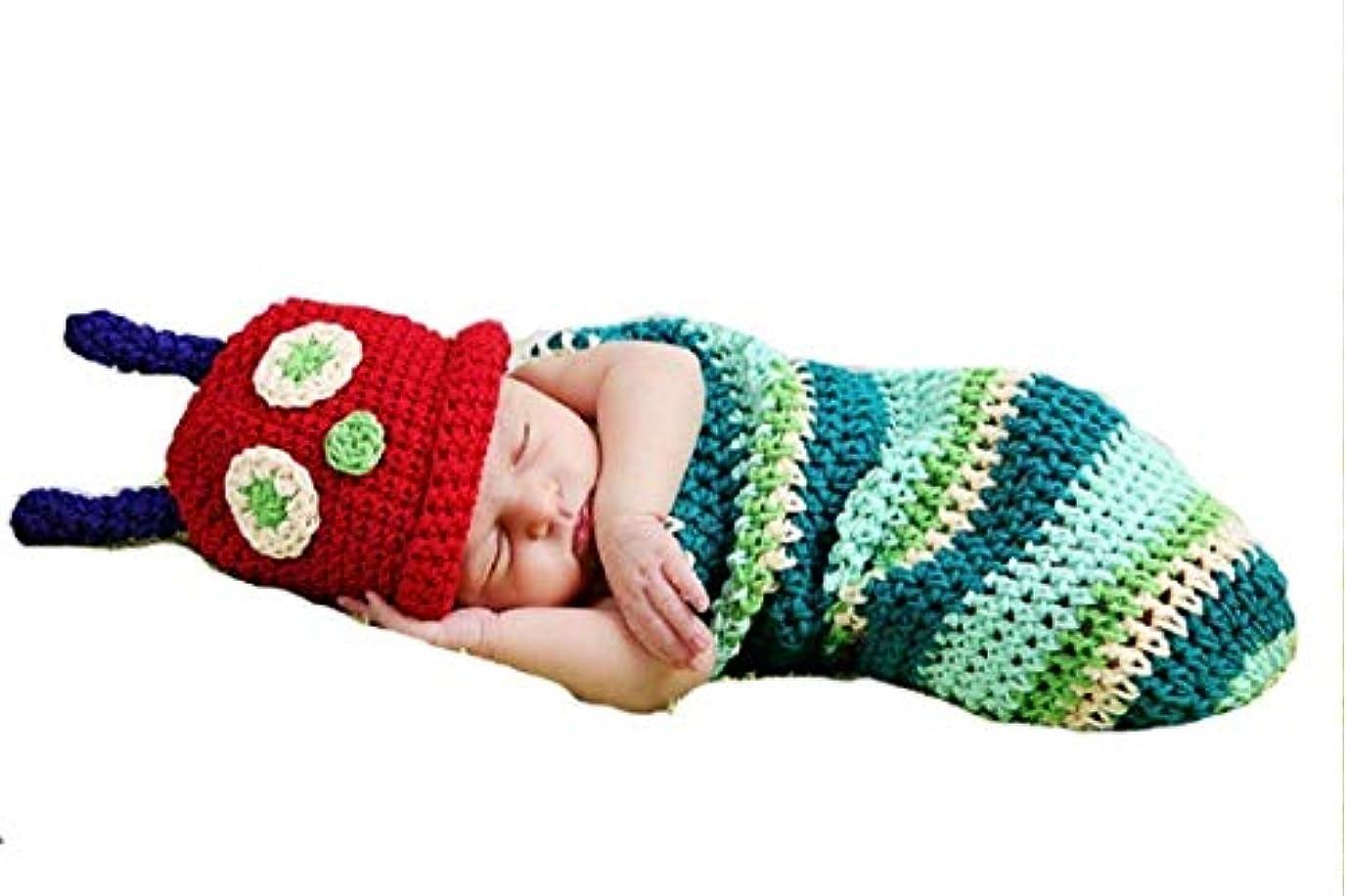 立証するシールドガードベビー用着ぐるみ コスチューム 寝相アート(100日 記念写真/写真撮影用) 出産祝い (あおむし)