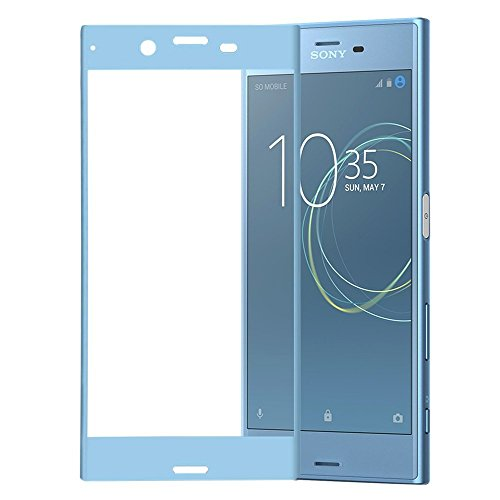 Xperia XZs フィルム,AutoGo 炭素繊維 3D 全面保護 Sony Xperia XZs ガラスフィルム SOV35 SO-03J 602SO 硬度9H 超薄0.15mm (アイスブルー)三色選択