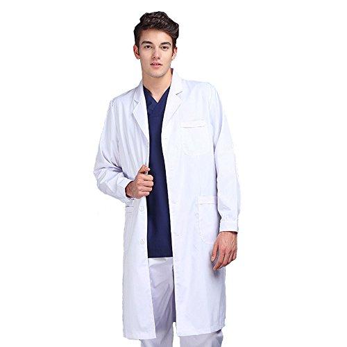 白衣 メンズ 実験衣 医師 診察衣ホワイト 長袖 ポケット付き 医療 制菌 男性ドクター (L)