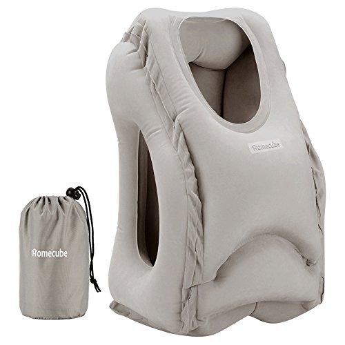 HOMECUBE 改良版 エアーピロー トラベルピロー 折り畳み式レイジー空気まくら 携帯便利 収納ポーチ付き 機内/飛行機/海外旅行/出張用(グレー)