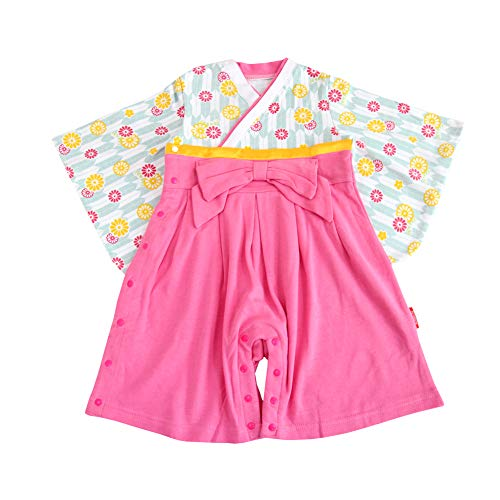 9ec43cd79b998 子ども用 袴風 ロンパース 女の子用 カバーオール 和服 和装 新生児 ベビー服 (ピンク(浪漫なひなぎく)