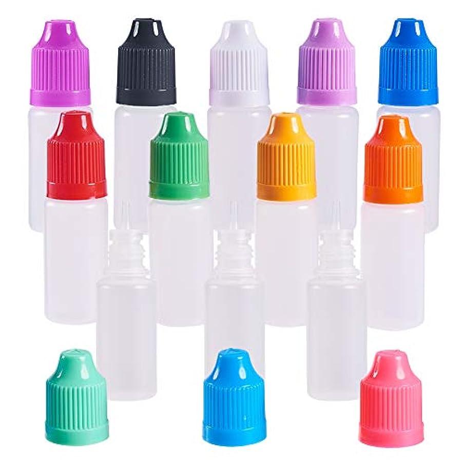 警察コーナー受賞BENECREAT 60個セット 10mlドロッパーボトル プラスチック製 いたずら防止蓋つき 液体貯蔵用 点眼剤ボトル アロマボトル 分け詰め カラーフール蓋 12種カラー