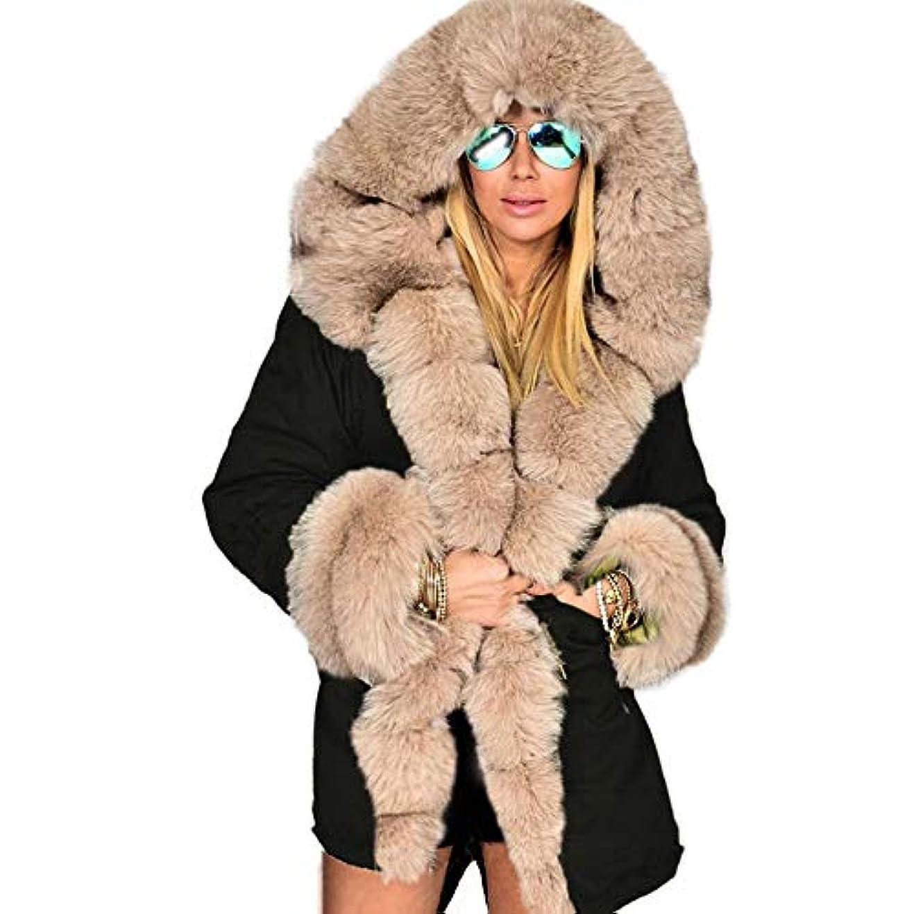 偉業不潔でる冬ジャケット女性ファッションフードコートフェイクファーカラーコットンフリースウォームコートパーカスパーカープラスサイズロングコート,XXL