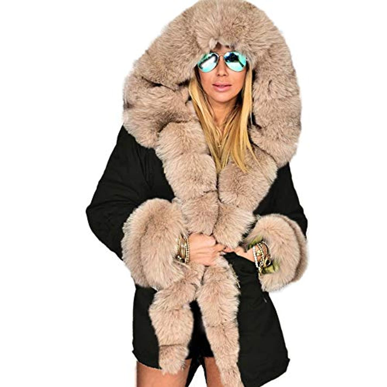 加害者上下するクレジット冬ジャケット女性ファッションフードコートフェイクファーカラーコットンフリースウォームコートパーカスパーカープラスサイズロングコート,XXL