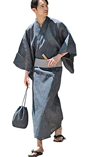 (キャバリア)CavariA メンズ 浴衣 5点 セット 和装 帯 下駄 巾着袋 扇子 しじら 羽織