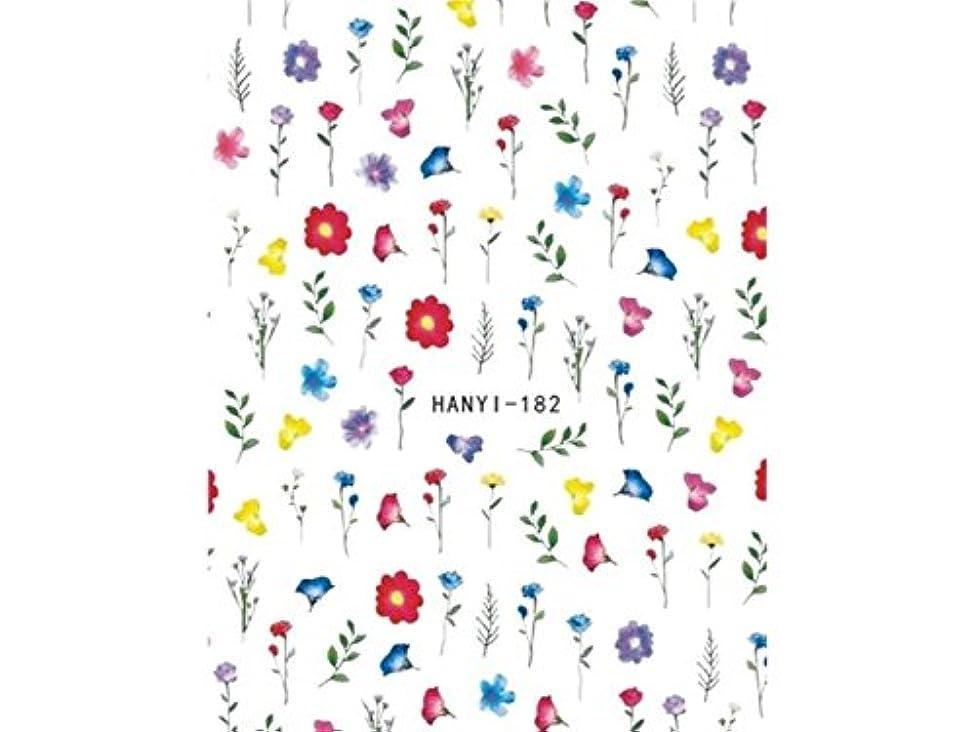 表示分析するダムOsize ファッションカラフルな花ネイルアートステッカー水転送ネイルステッカーネイルアクセサリー(示されているように)