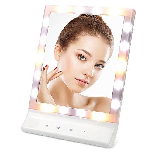 Demoo 化粧鏡 LEDライト付き 女優ミラー  スタンド/壁掛け両用 明るさ3モード調節  電池/USBケーブル付き