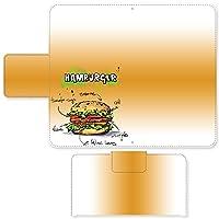 Ascend G6 ☆ ケース・カバー 完全受注生産 完全国内印刷 スライド式スマホケース 手帳型 イラスト ハンバーガーレシピ「ハンバーガー」 SIMフリー SIMカード シムフリー スマホカバー オリジナルデザイン プリント 日本製