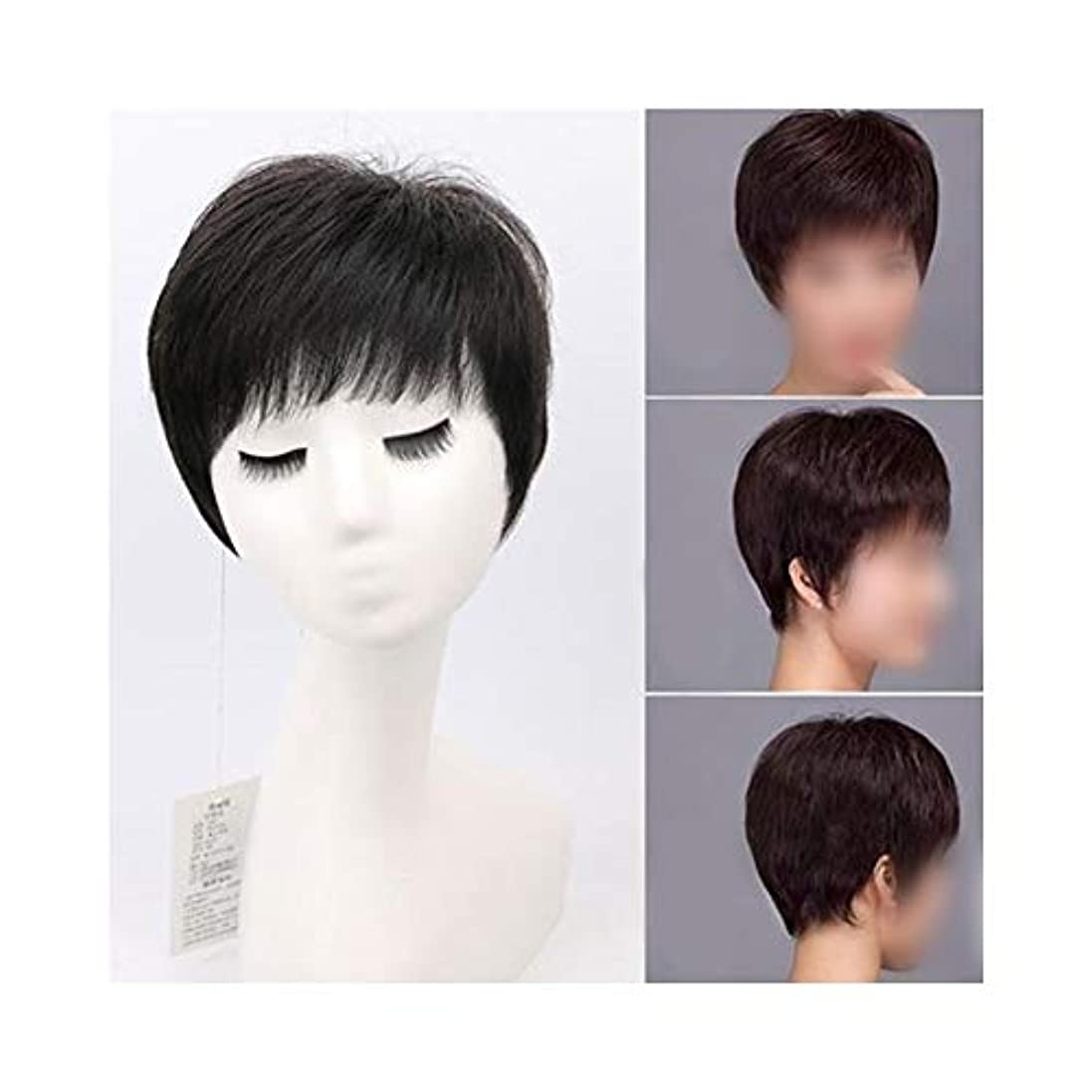 スケジュール吹きさらし厳YOUQIU 女性のための空気中前髪と古いウィッグナチュラル現実的なかつらを持つ実髪ショートストレートヘアー (色 : Dark brown)