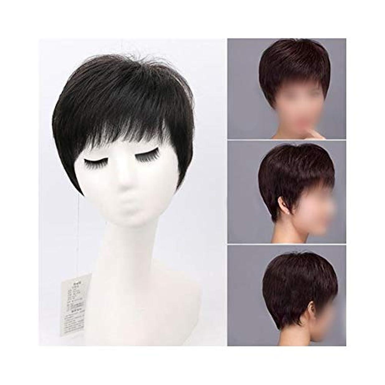 紛争のど知らせるYOUQIU 女性のための空気中前髪と古いウィッグナチュラル現実的なかつらを持つ実髪ショートストレートヘアー (色 : Dark brown)