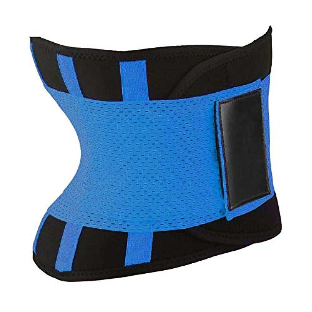 プレゼンター表現吸収する快適な女性ボディシェイパー痩身シェイパーベルトスポーツレディースウエストトレーナーニッパーコントロールバーニングボディおなかベルト - ブルーL