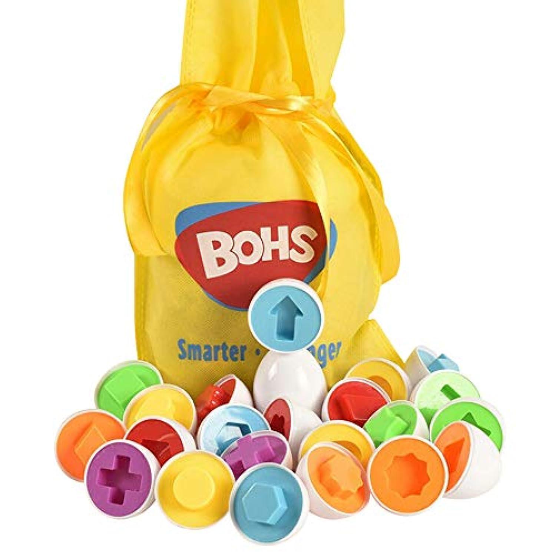 Bohs 12フル卵セット子perceptivity基本図形と色ビジョントレーニングNon Toxic ToyプラスチックMatching卵