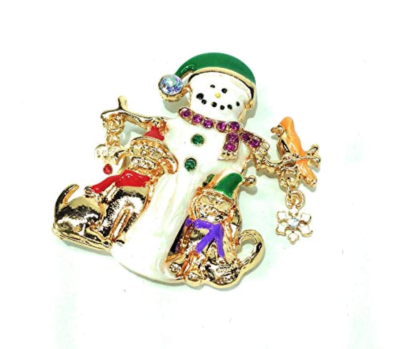 クリスマスブローチ 雪だるまさんと ネコと イヌの かわいい ブローチ