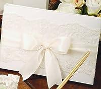 シャンティイレースホワイトゲストブックwithホワイトサテンリボンビバリークラーク結婚式