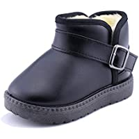 SENFI Toddler Winter Snow Boots for Boy and Girl Waterproof Fur Lining Flat Slip-on Outdoor Shoes (Toddle/Little Kid)