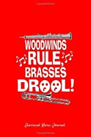 Classical Music Journal: Woodwinds Rule Brass Trombone Drool Cool Christmas Gift - Red Ruled Lined Notebook - Diary, Writing, Notes, Gratitude, Goal Journal - 6x9 120 pages