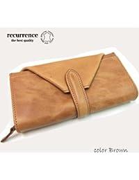 (リクレンス)recurrence イタリア素材 ロングウォレット イタリー革を使用したデザインウォレット ブラウン wa025brown