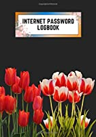 internet password logbook: a5 5.83x8.27 cute internet password book | cool internet password logbook paper with page numbers and A-Z index | internet password logbook | internet password notebook journal paper | tulip spring flower dark gray color