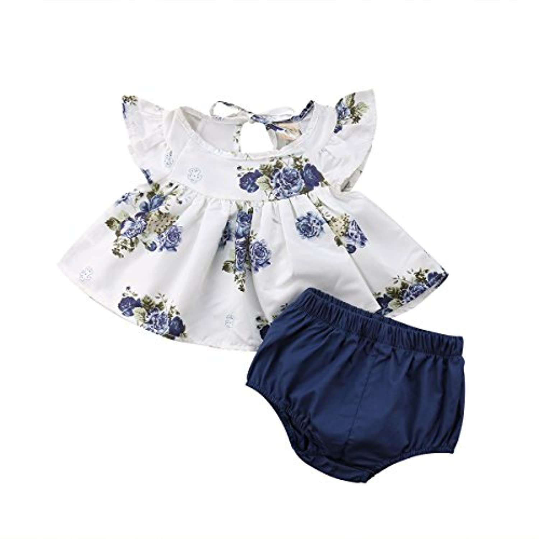 ベビー服 子供服女の子 タンクトップ Tシャツ+パンツ 夏着 無袖 花柄 カジュアル 可愛い2点 セット  0~24ケ月  (80/3-6ヶ月)