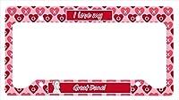 キャロラインはLH9131LPFグレートデーンバレンタイン愛と心のナンバープレートフレームを宝物