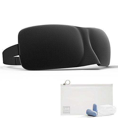Licok 睡眠 アイマスク、3D立体 旅行アイマスク、優れた遮光性、高品質の低反発フォーム、調整可能なベルト、軽量で薄くて柔らかい、圧迫感ゼロ、抜群の通気性、旅行・仮眠・深い睡眠.様々なシーンに最適、高品質な耳栓・耳栓収納ケース・収納ポーチ付き(ブラック)
