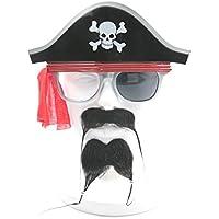 [XPデザイン] 海賊 盗賊 パイレーツ 仮装 変身 なりきり クチヒゲ あごひげ コスチューム (海賊ハットメガネ+付けひげ)
