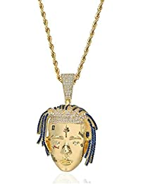 Personalized Rapper Xxxtentacion Pendant Necklace Men Iced Out CZ Chains Hip Hop/Punk Gold Color Charms Jewelry Gifts(Gold,one Size)