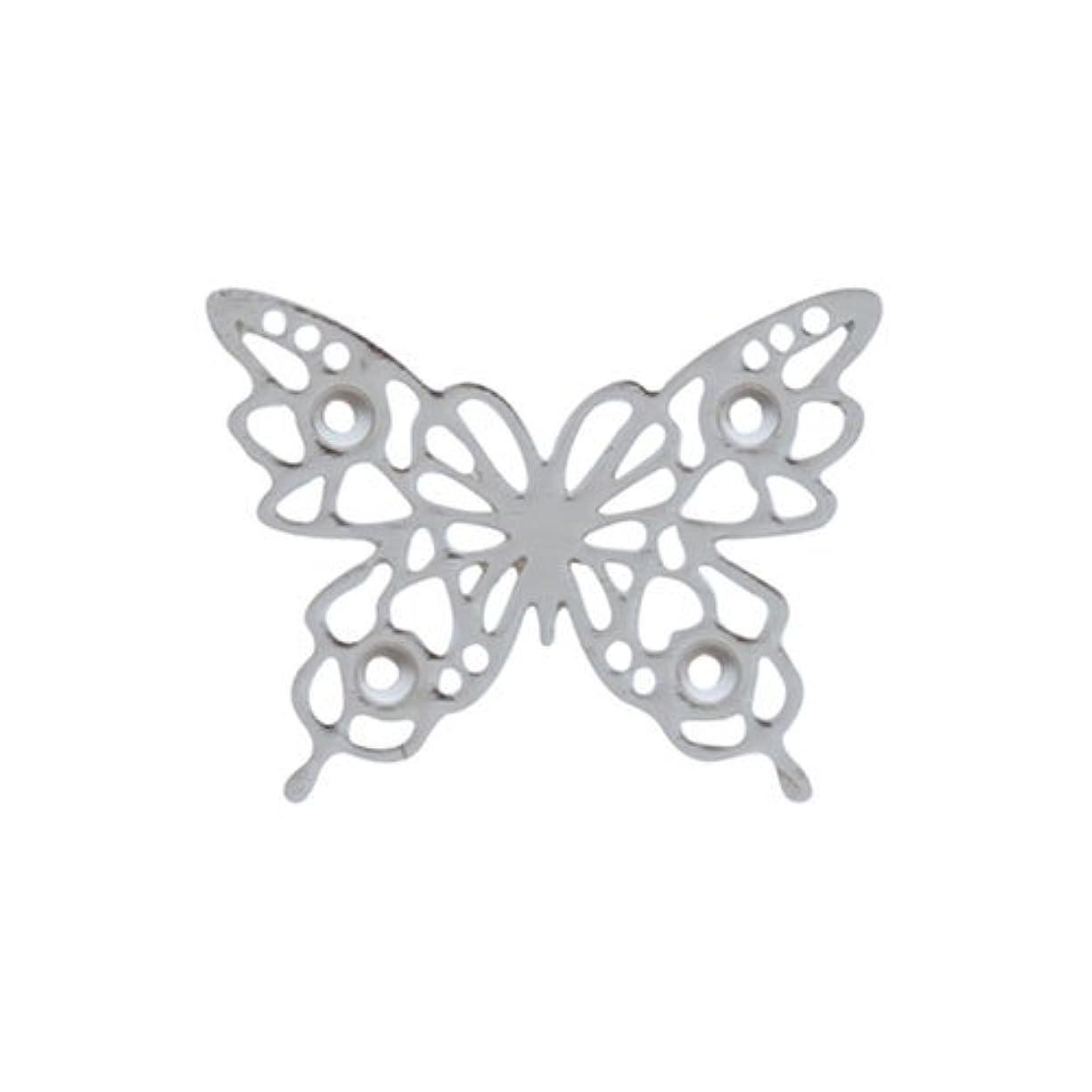 収束する分解する心臓リトルプリティー ネイルアートパーツ チョウレースS シルバー 10個