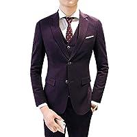 GodeyesW メンズテーラードセット3ピースビジネスプレミアムコートジャケットスーツ Purple 3XL