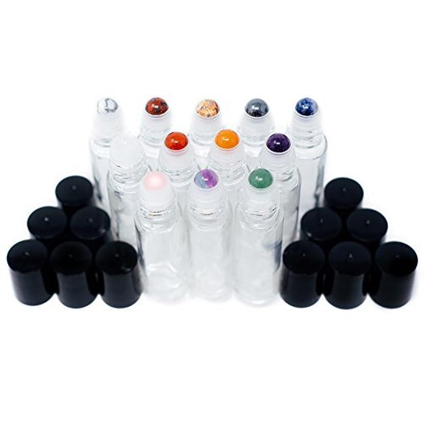 ビーチシードミスペンドGemstone Essential Oil Roller Bottles + Tops | Set of 12 Natural Crystals + Precious Stones | Gemstone Roller Balls | Unique Properties for Each Gemstone | Luxe Gift | Black Tops + 10ml Glass Bottles [並行輸入品]