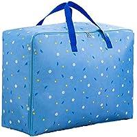 デイジーパターン収納袋3PCSポータブル折り畳み式オックスフォード布防水性防湿綿キルト収納大型荷物衣類移動仕上げ収納袋3個/セット (色 : 青, サイズ さいず : 55 * 20 * 33cm)