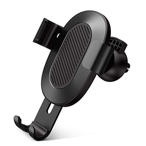 【Humixx】(ヒュミス) 車載ホルダー [ 片手操作 上下左右回転可能 ] [ 重力原理 充電障害なし ] [ ロック式 メタルプレート不要 ] [ 高級感 シンプル ](スマホホルダー, ブラック)