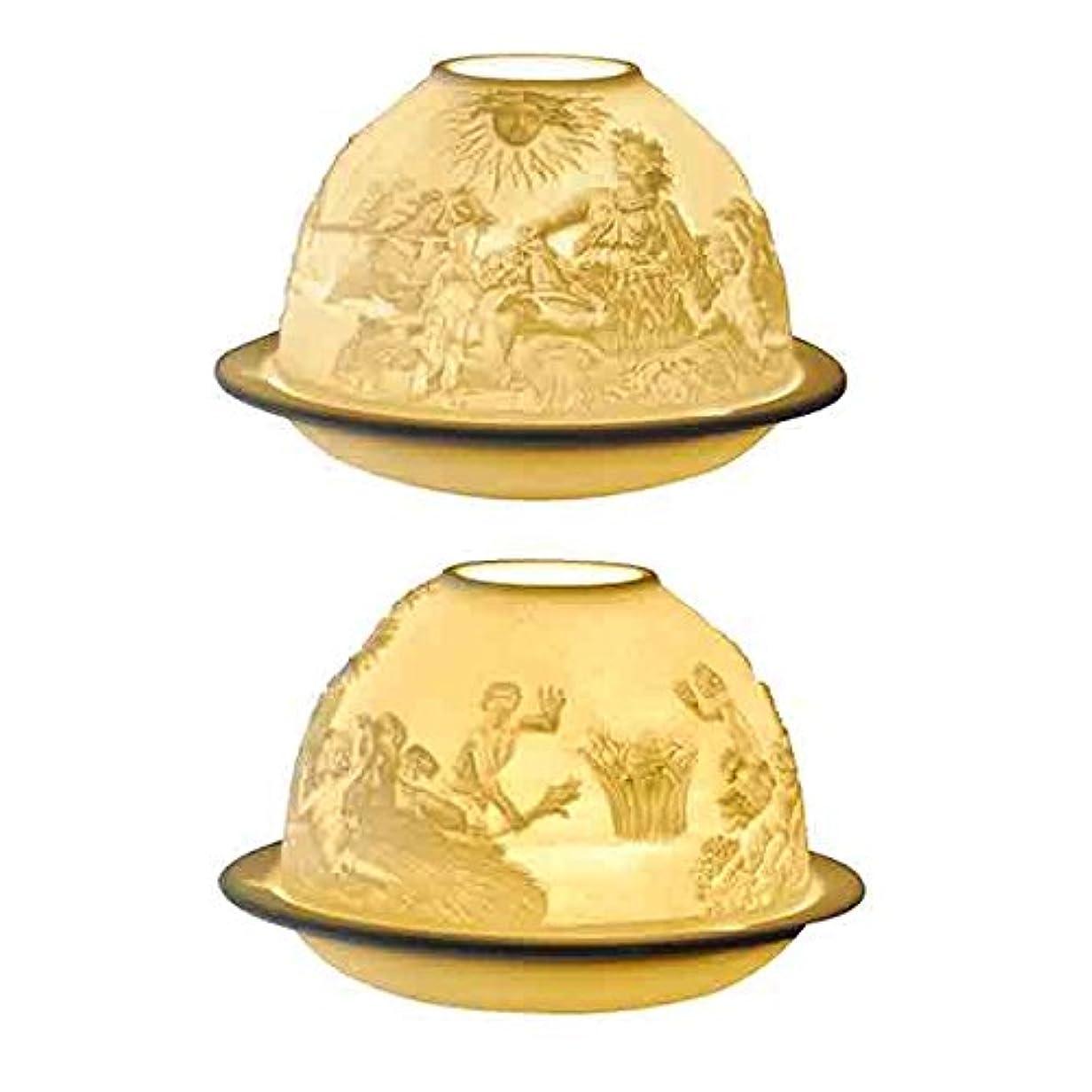 三角半球ジムベルナルド[BERNARDAUD] キャンドル用リトファニー ランプ 「ヴェルサイユ宮殿の大噴水」フランス製 リモージュ