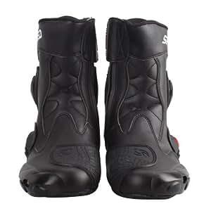 NEW!強化防衛性PRO★スポーツバイク用レーシングブーツ/オートバイ靴 SPEED◆ブラック&約25.5CM