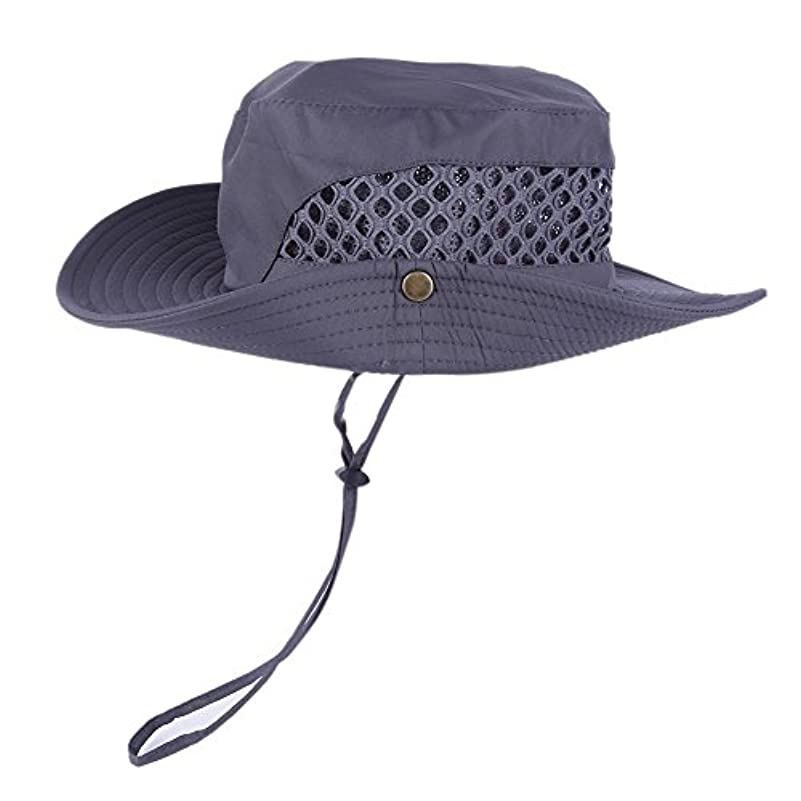 刈るモナリザ適応的wingbind夏メッシュSun Hat with LanyardメンズのワイドつばUV保護釣り帽子アウトドア帽子with文字列通気性軽量調節可能