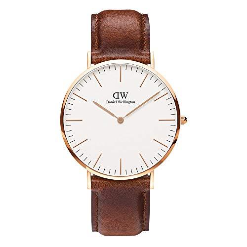 腕時計 メンズ 40MM 革ベルト レザー ローズゴールド ホワイト文字盤 シンプル ウォッチ シーンを問わずフィットする【並行輸入品】