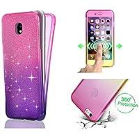 Samsung S6、Galaxy S6のTPUケース、SevenPandaのショックプルーフカバーソフトTPUシリコンのダブルケースのスリムフィットにフィットするカラフルなTPU電話ケースSamsung Galaxy S6用 - ピンク/パープル