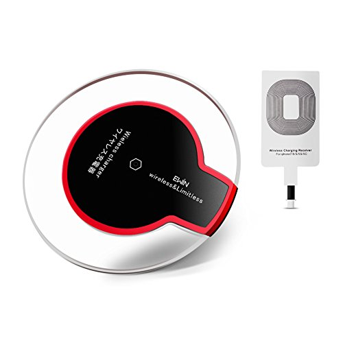 Ewin® Qi ワイヤレス充電器 Qiレシーバー USBケーブル付き iPhone X / 8 / 8 Plus/iphone 7/7 plus/6 plus/6/6s/5/5s/5 se /Samsung Galaxy/Nexus/Xperia Qi対応全機種 置くだけ充電 シングルコイル Qi(チー)規格 無接点充電パッド【一年保証付き】