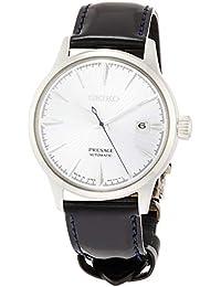 [プレザージュ]PRESAGE 腕時計 プレザージュ アイスブルー文字盤 ボックス型ハードレックス シースルーバック ネイビーカーフバンド SARY125 メンズ