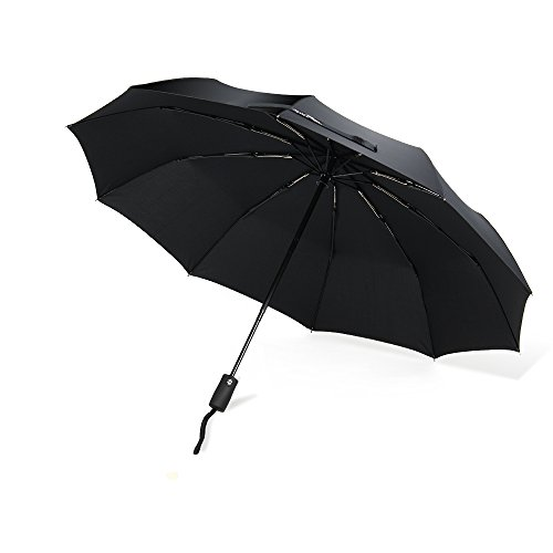 VIVREAL 折りたたみ傘 自動開閉式 ワンタッチ傘 飛び跳ね防止 10本骨 日傘 雨傘 ブラック