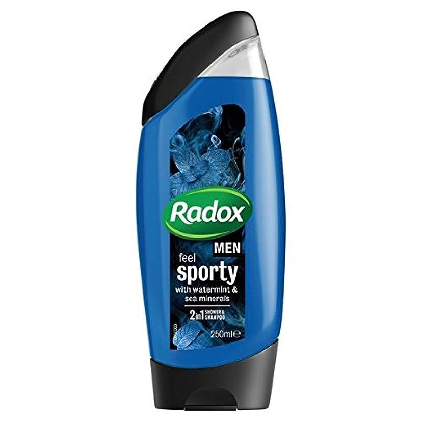 カップル疲れたスリッパ男性はスポーティ&海のミネラルの21のシャワージェル250ミリリットルを感じます x2 - Radox Men Feel Sporty Watermint & Sea Mineral 2in1 Shower Gel 250ml...